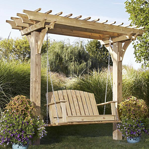 Easy swinging arbor with swing woodworking plan from wood for Easy porch swing