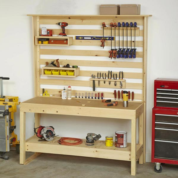 Workbench With Wall Storage Woodworking Plan From Wood