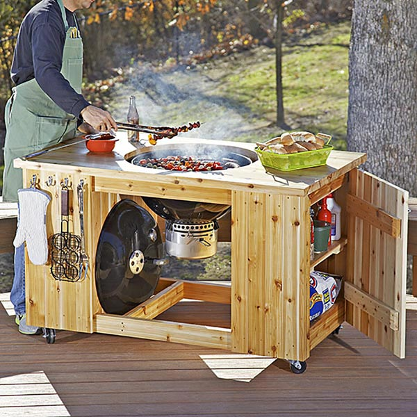 Attractive Grilling Center Woodworking Plan, Outdoor Outdoor Furniture