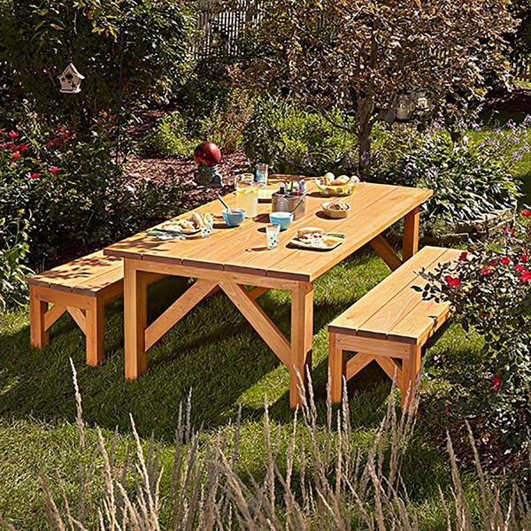 Simple U0026 Sturdy Picnic Set Woodworking Plan, Outdoor Outdoor Furniture