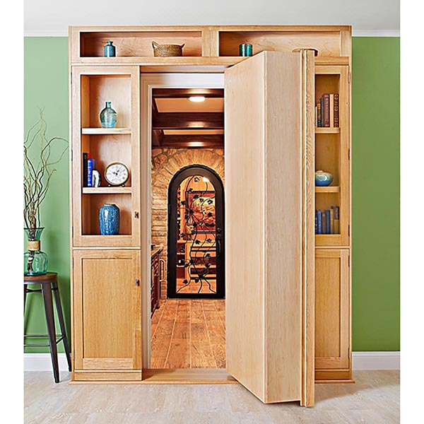 hidden door bookcase woodworking plan from wood magazine. Black Bedroom Furniture Sets. Home Design Ideas