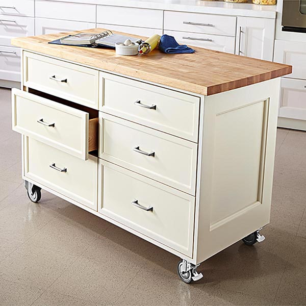 Rolling kitchen island woodworking plan from wood magazine for Rolling kitchen island with seating