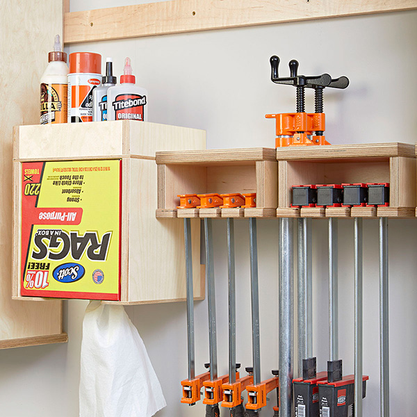 One-Wall Workshop: Clamp Rack Glue Station