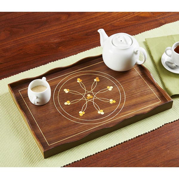 Inlaid Line-and-Berry Tea Tray