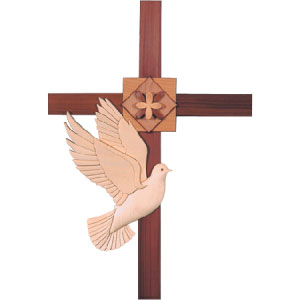 Cross with Dove Intarsia Pattern