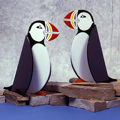 Puffins by the Pair : Large-format Paper Woodworking Plan