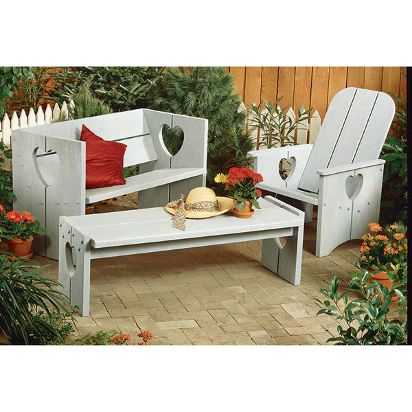 Heart Bench, Chair, and Table : Large-format Paper Woodworking Plan
