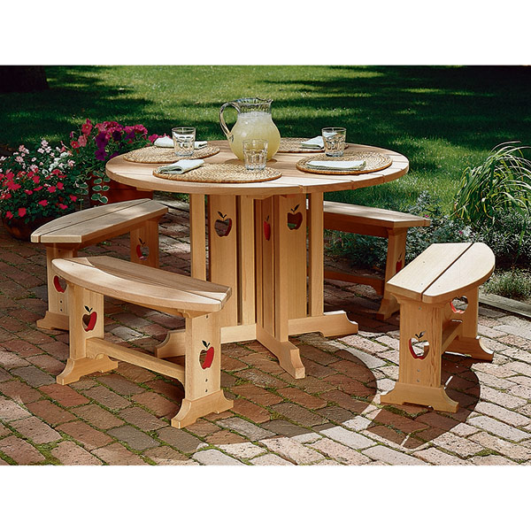 Apple Patio Table and Benches : Large-format Paper Woodworking Plan