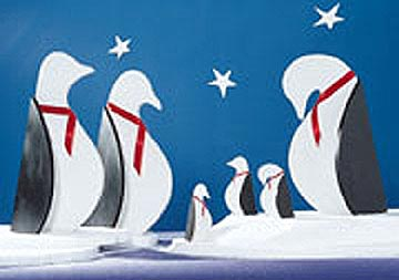 Pint-Sized Penguins : Large-format Paper Woodworking Plan
