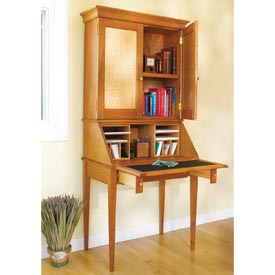 Slant-Front Secretary Woodworking Plan, Furniture Desks