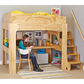 Loft Bed and Desk Woodworking Plan, Furniture Beds & Bedroom Sets Furniture Desks
