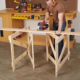 Folding Sawhorses Woodworking Plan, Workshop & Jigs Tool Bases & Stands Workshop & Jigs $3 Shop Plans
