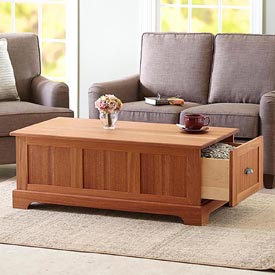 Coffee Table with Storage Drawers Woodworking Plan, Furniture Tables