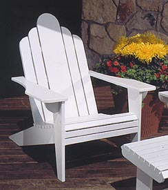 White Adirondack Lawn Chair : Large-format Paper Woodworking Plan