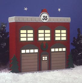 Americana Village??_ Fire Station : Large-format Paper Woodworking PlanOutdoor Seasonal Yard Figures