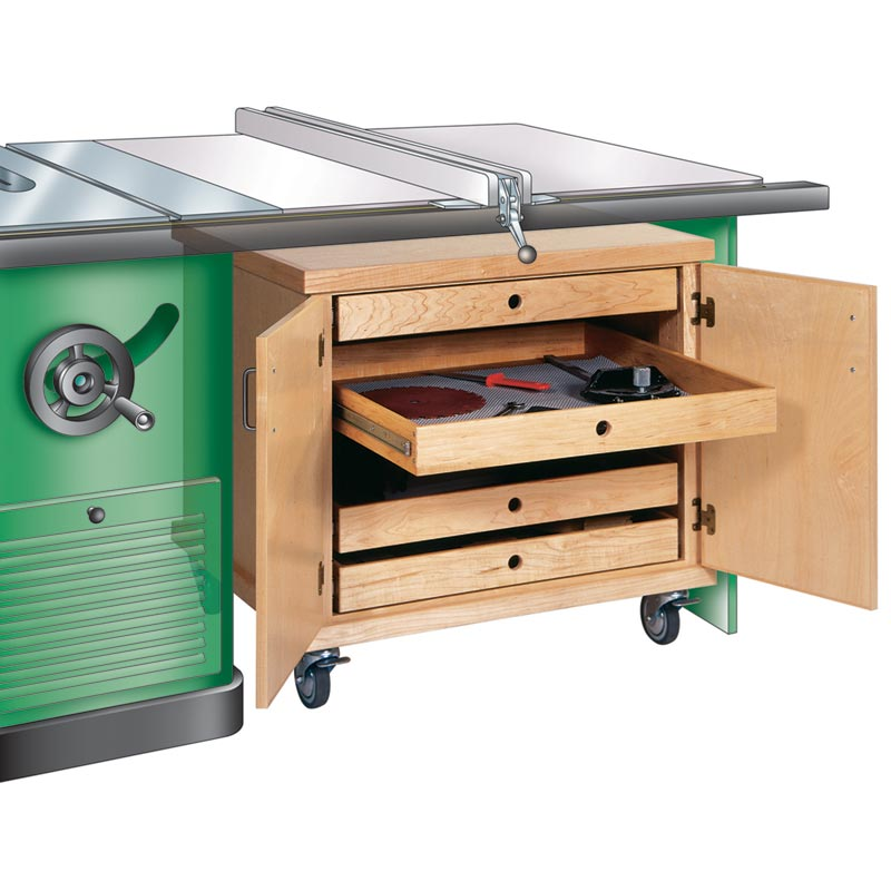 Tablesaw accessories cabinet woodworking plan from wood for Table saw cabinet plans free