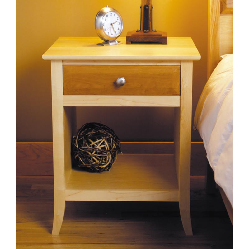 Maple cherry nightstand woodworking plan from wood magazine for Nightstand plans