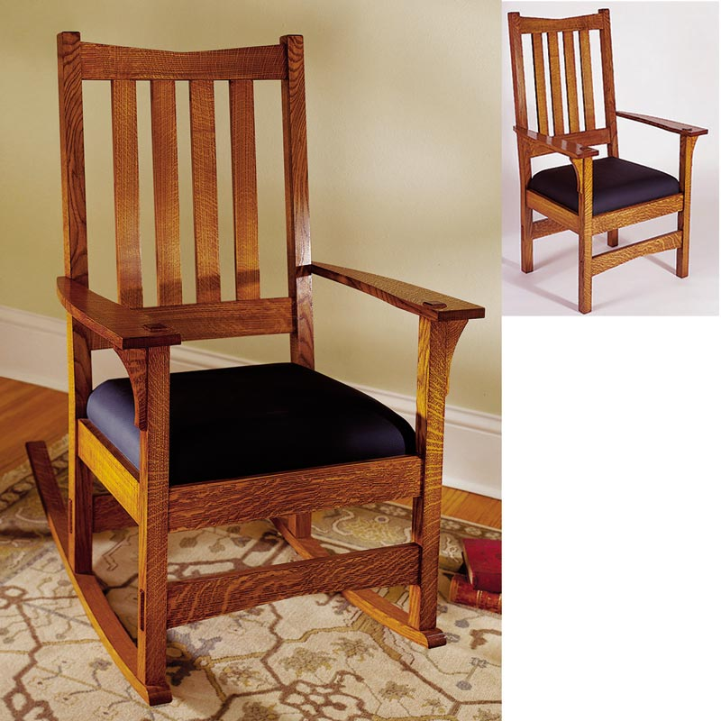 Two in one arts and crafts chair rocker woodworking plan for Craftsman furniture plans