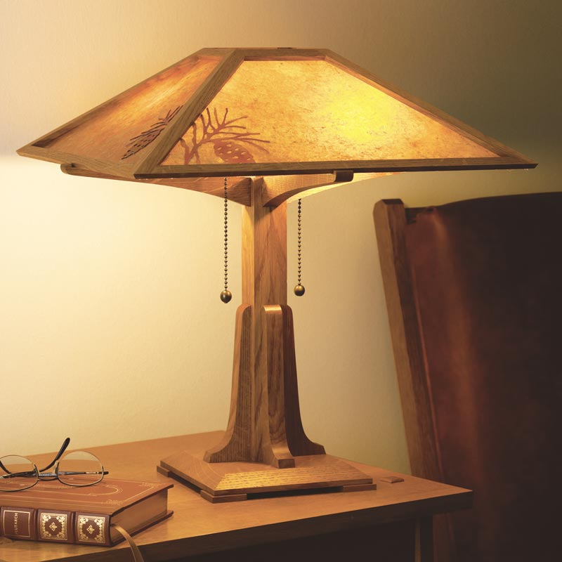 Arts crafts lamp plan woodworking plan from wood magazine for Wood floor lamp plans