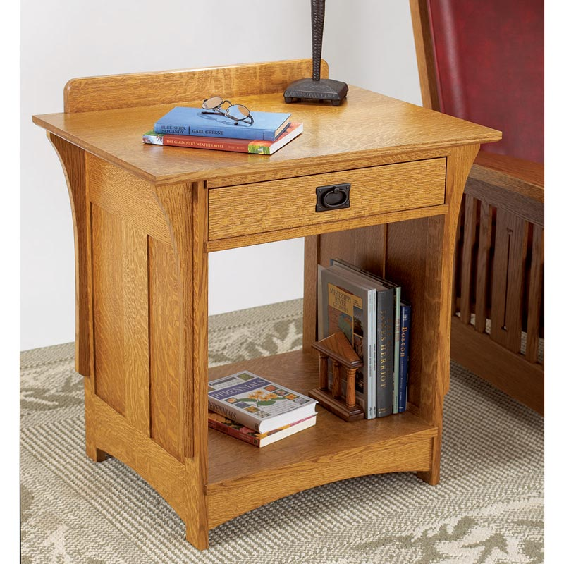 Arts and crafts nightstand woodworking plan from wood magazine for Nightstand plans