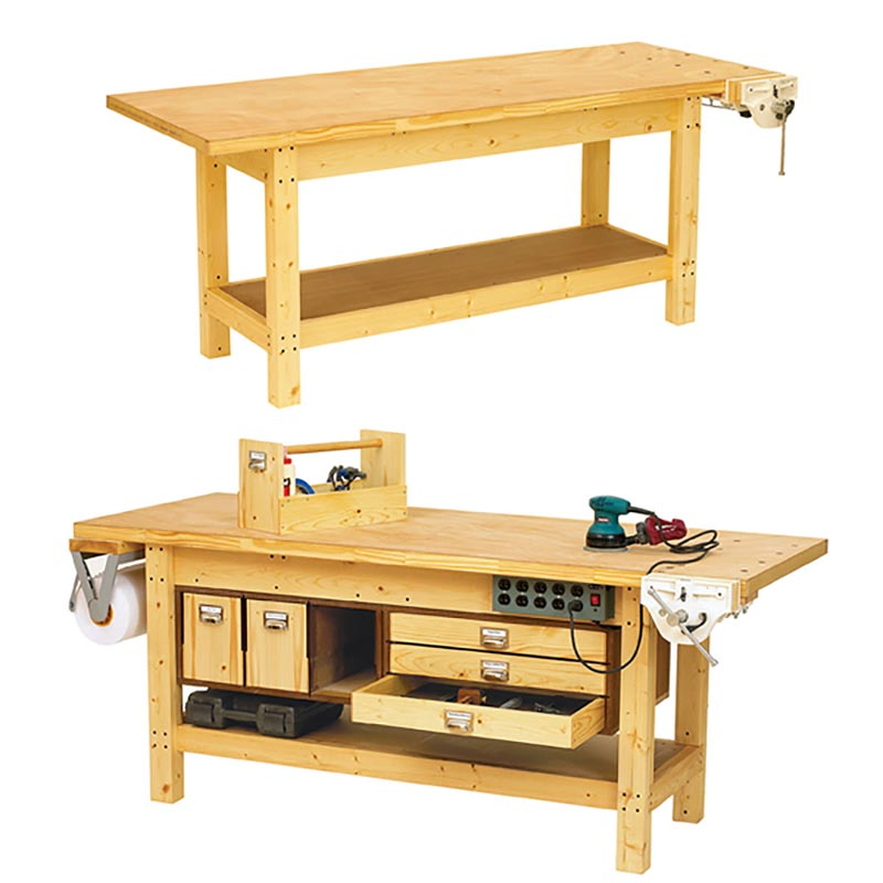 Basic Workbench and 6 ways to beef it up Woodworking Plan ...
