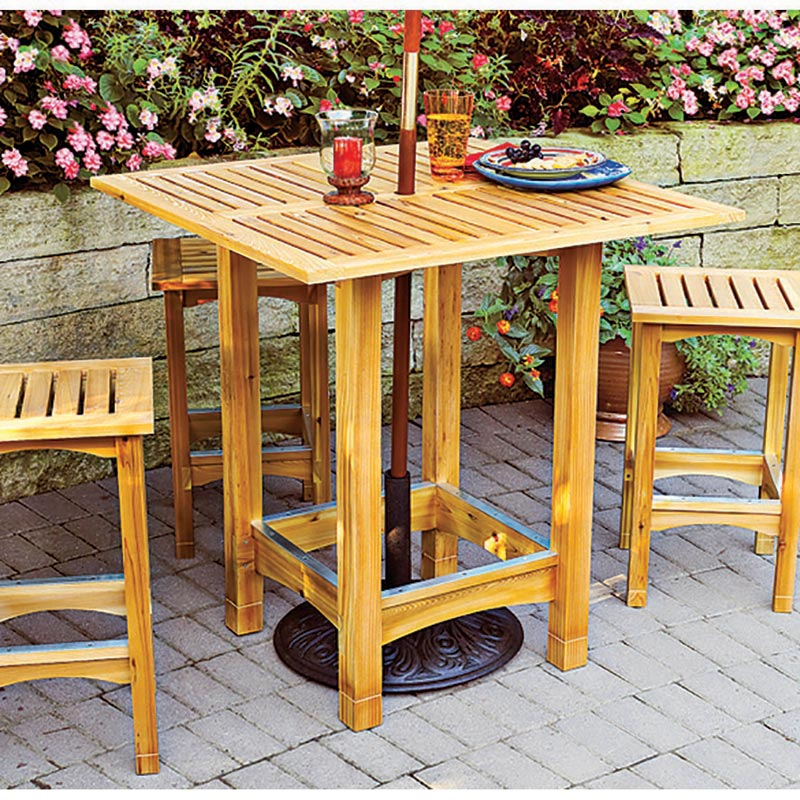 Bistro Patio Table And Stools Woodworking Plan From WOOD