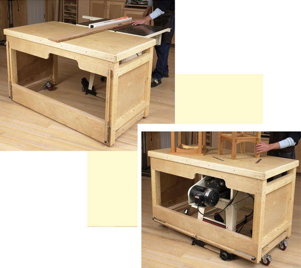 Space Saving Double Duty Tablesaw Workbench Woodworking Plan From Wood Magazine