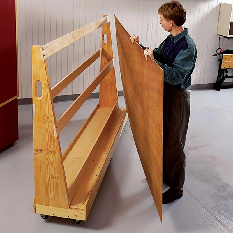 Roll around plywood cart woodworking plan from wood magazine for Mobile lumber storage rack plans