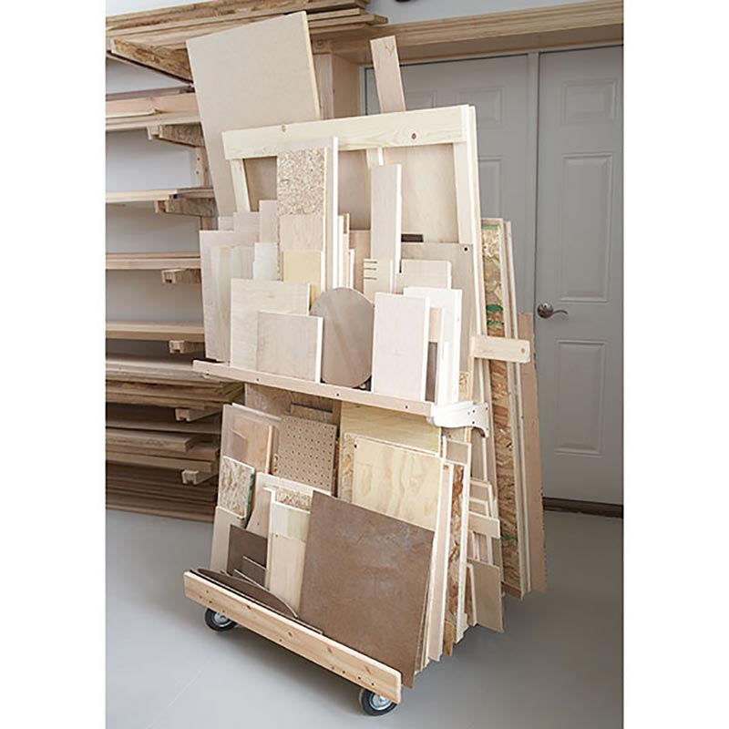 Mobile sheet goods rack woodworking plan from wood magazine for Mobile lumber storage rack plans