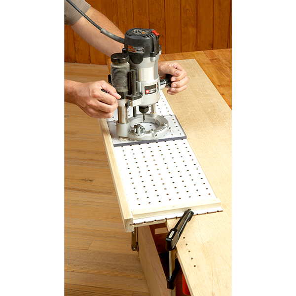 plunge router shelf pin jig woodworking plan from wood