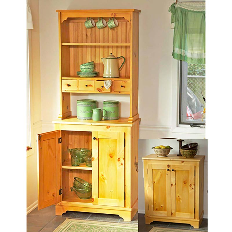 Country pine cabinet woodworking plan from wood magazine for Wood hutch plans