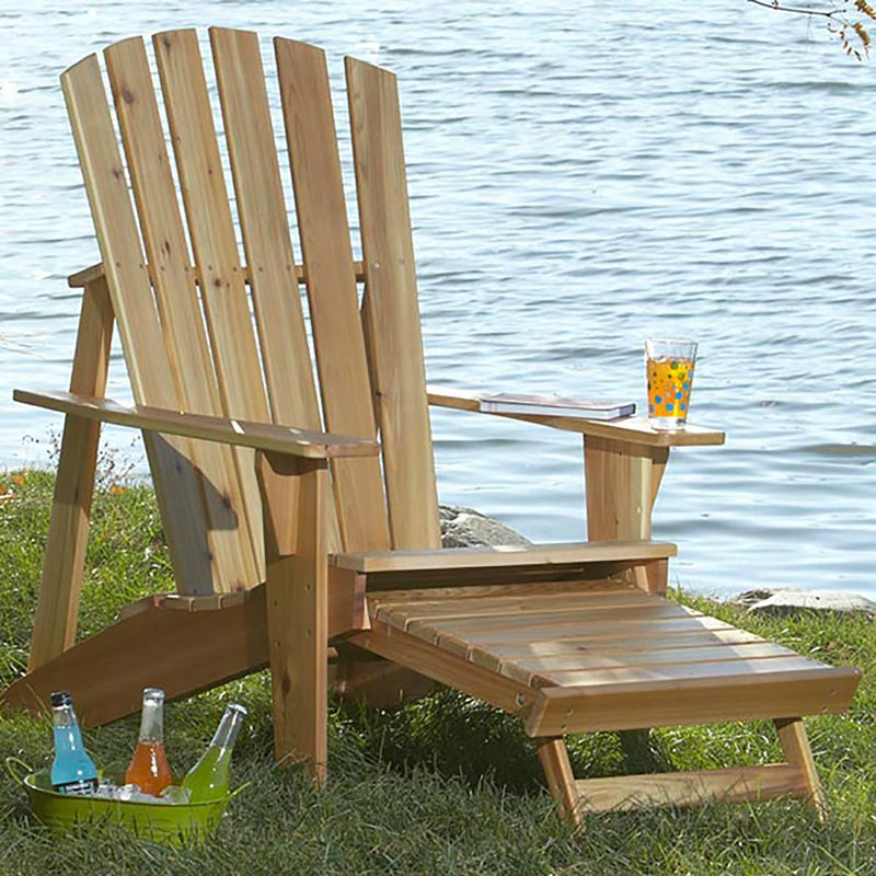 Outdoor Wood Chair Plans ~ Adirondack chair with footrest woodworking plan from wood