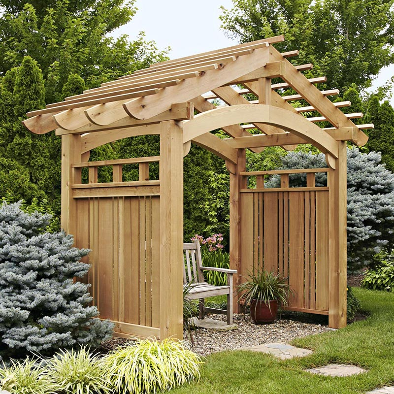 Arching garden arbor woodworking plan from wood magazine for Timber garden arch designs