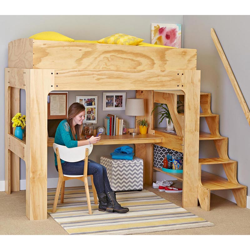 Loft Bed and Desk Woodworking Plan from WOOD Magazine