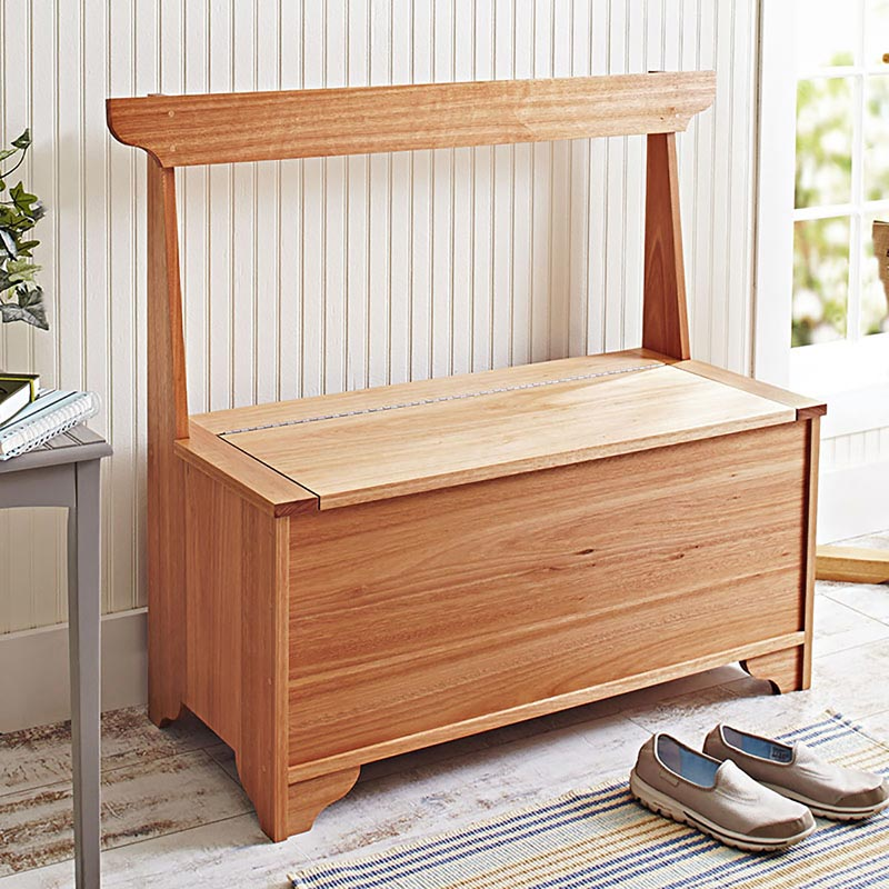 Indoor outdoor storage bench woodworking plan from wood magazine Storage bench outdoor