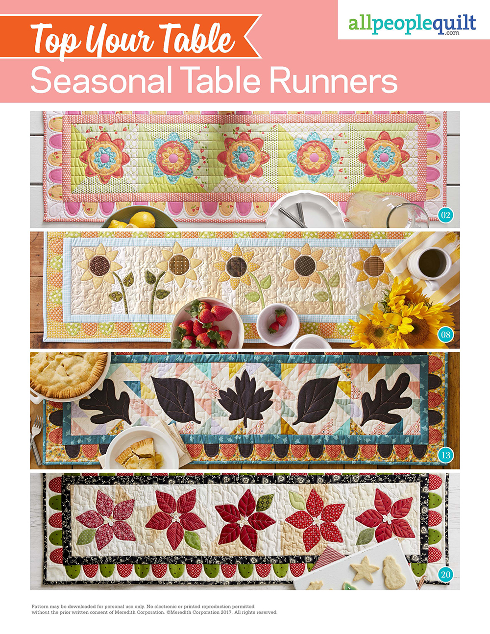 top your table seasonal table runners plan from american patchwork rh apqshop com seasonal table runner quiltworx