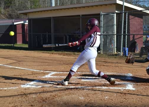 Brooke Coggins gets one of her hits in Monday's action