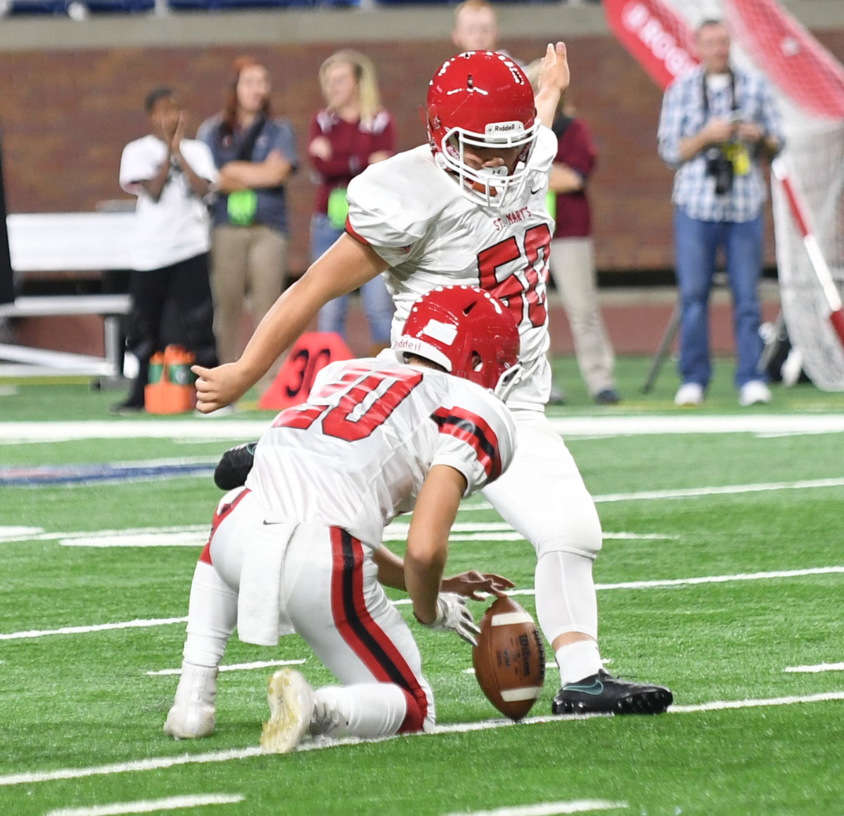 Orchard Lake St. Mary's kicker Ben Fee tied a finals game record with three field goals, including a finals game record 49-yarder in the second half.