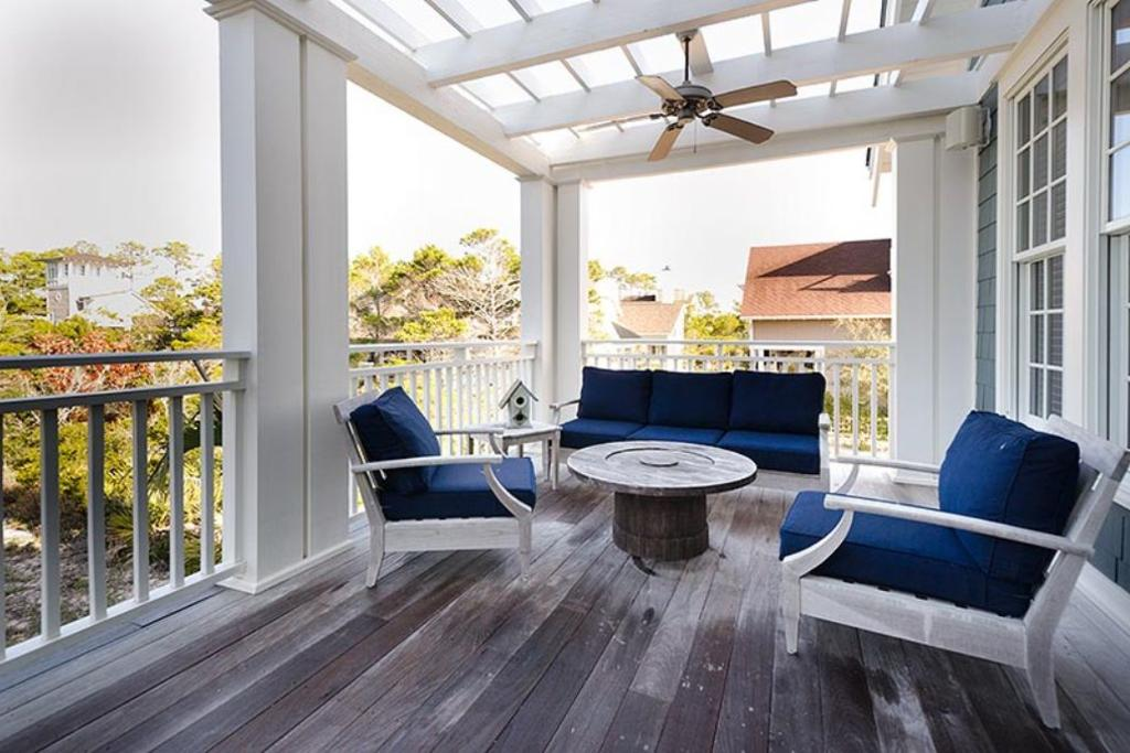 Second story balcony comfortable seating