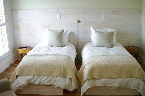 Third floor guest bedroom made up as twins