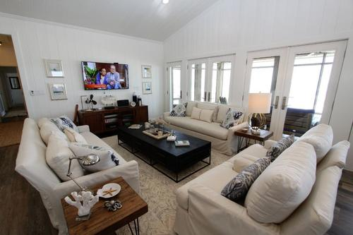 Open living area with two sofas