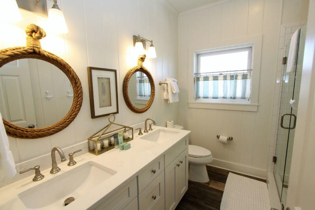 Fully renovated hall bath with double vanity