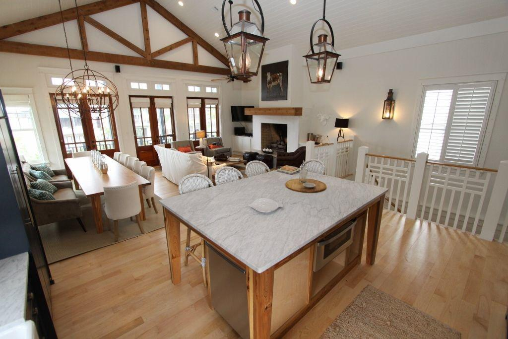 Kitchen island overlooks living and dining