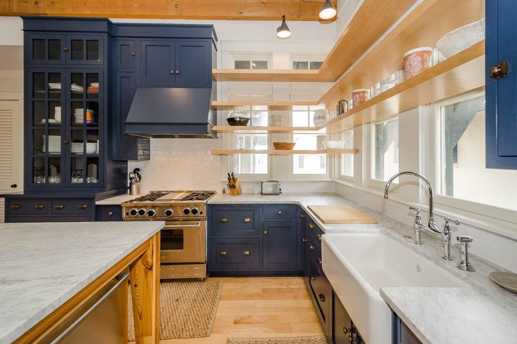 Renovated kitchen offers marble countertops