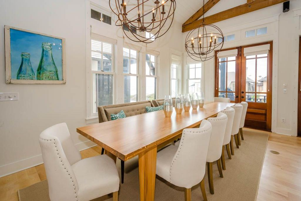River recovered pine dining table seats twelve