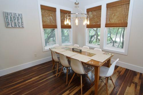 Dining room surrounded by windows