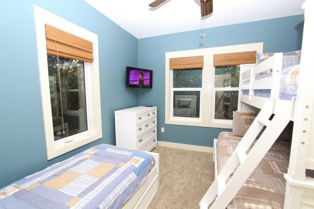 Bunk room also has additional twin bed and tv