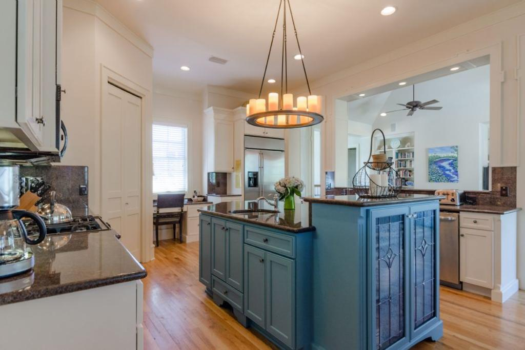 Large open kitchen with two islands