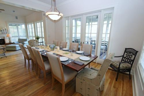 Dining area also overlooks screened porch