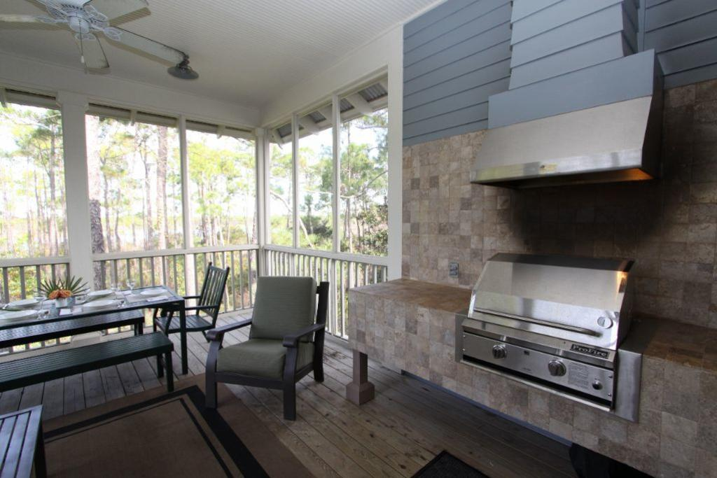 Gas grill on screened porch